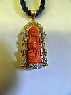 Blood coral Guanyin pendant with gold and diamonds