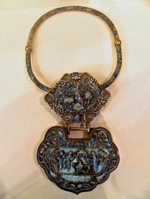 Chinese silver cloisonne symbolic lock