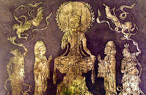 Buddha with adorants,angels and protectors, lithography