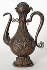 Tibetan Copper Ritual Ewer with Cover, 18th / 19th C.