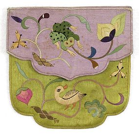 Old Embroidered Chinese Silk Pouch, First Half 20th C.