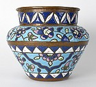 Antique Islamic Copper Cachepot with Enamel, 19th C.