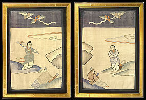 Two Framed Chinese Kesi Panel Fragments, late Qing.