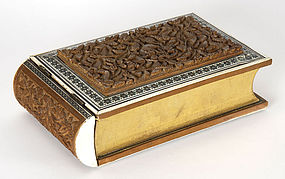 Rare Anglo Indian Book Shaped Box with Sadeli, c. 1900.