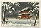 Japanese Woodblock Print of Zojoji Temple in Snow.