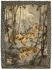 Very Large Painted Japanese Velvet w. 5 Tigers, Meiji.