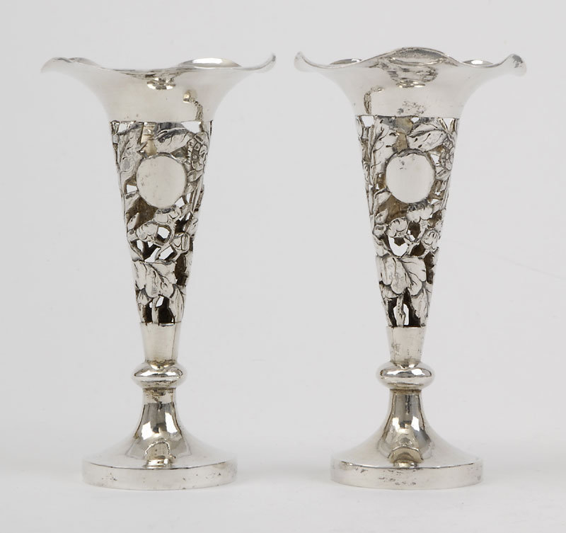 A Pair Small Chinese Export Silver Trumpet Vases.