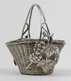 Chinese Export Silver Miniature Wicker Basket.
