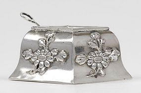 Chinese Export Silver Salt Cellar with Spoon.