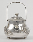 Early 20th C. Chinese Silver Sugar Boxl w. Dragons.