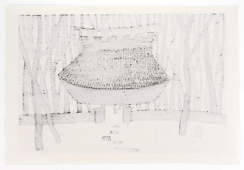 "Kiyoshi Saito - Japanese Woodblock Print ""Gate""."