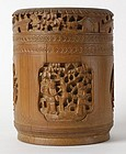 Chinese Carved Bamboo Tea Caddy, 19th C.