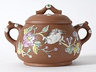 Chinese Enameled Yixing Clay Sugar Bowl, c. 1900.