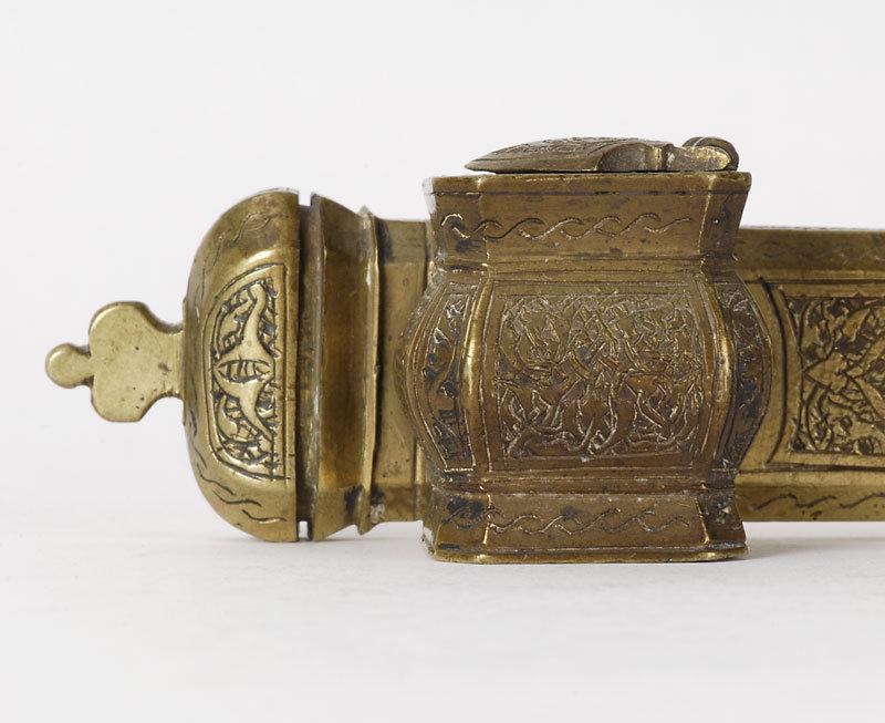Islamic Divit Brass Scribes Pen Case, 19th C.