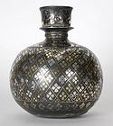 Rare Mughal Silver and Brass Inlaid Bidri Hookah Base.