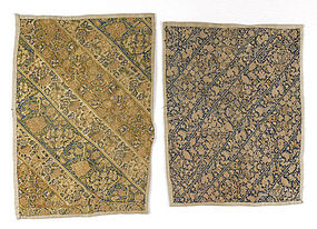 Two Persian Embroidered Trouser Cuff Nakshe Panels, 19th C