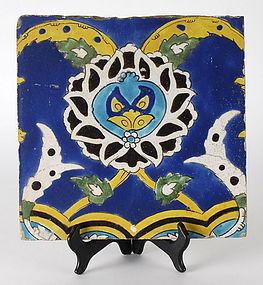 Persian Safavid Cuerda Seca Pottery Tile, 17 th / 18th.