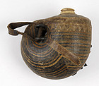 Antique Indo Persian Nautilus Shaped Powder Flask.