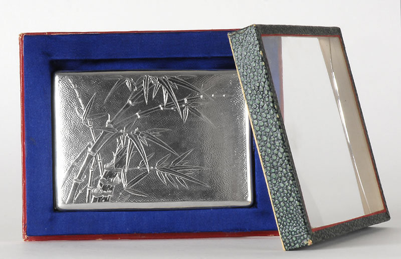 Chinese Export Silver Cigarette Case w. Bamboo, c. 1900