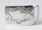 Old Japanese Silver Belt Buckle with Dragon.