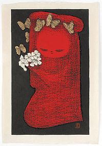 Kaoru Kawano Woodblock Print - Girl with Flowers.