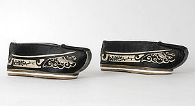 A Pair Chinese Manchu Women's Shoes, late Qing.