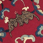 Chinese Embroidered Panel w. Bats and Flowers, 19th C.