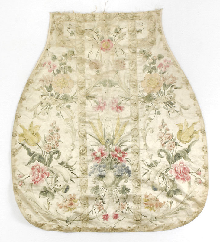 18th C. French Painted Silk Fragment of Chasuble.