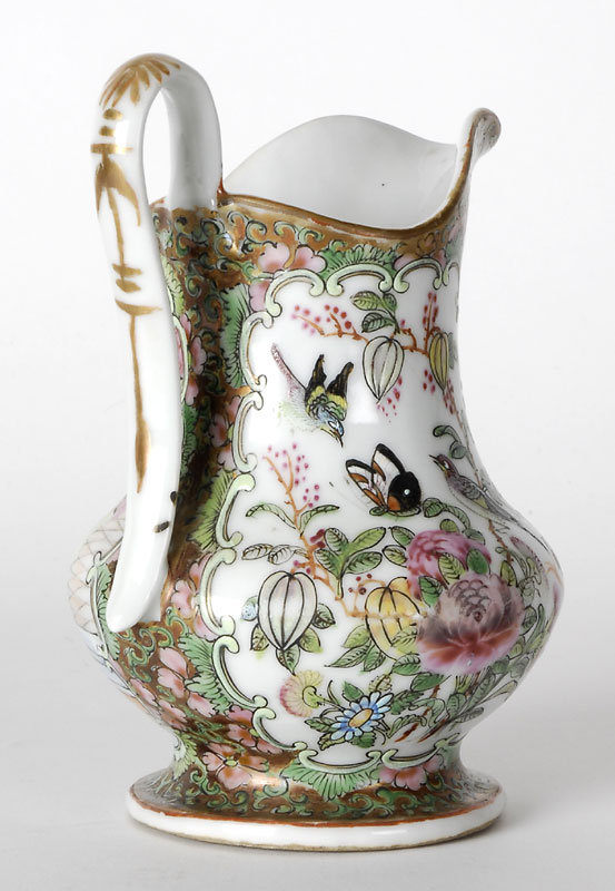 """Chinese Export Porcelain """"Canton Rose"""" Jug, 19th C."""
