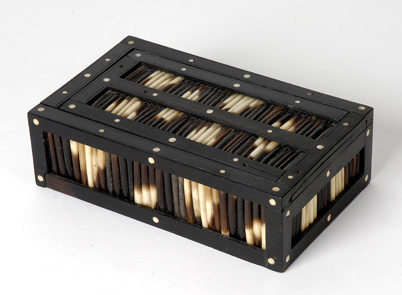 Anglo-Indian Ebony Porcupine Quill Box, c. 1900.