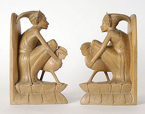 Old Balinese Pair of Wooden Book Stands, Signed.