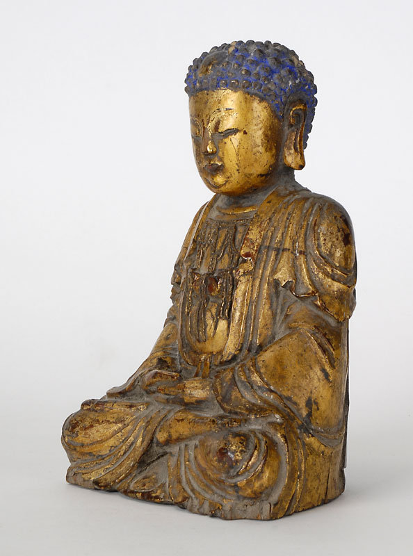 Chinese Gilt Lacquered Wood Figure of Bodhisattva.