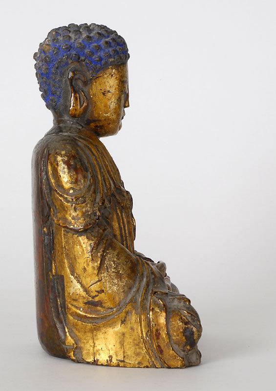 Chinese Gilt Lacquered Wood Figure of Bodhisattva.