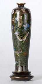 Fine Small Japanese Cloisonne Vase w. Ho-o Birds.