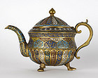 Fine Kashmir Gilt Bronze Teapot with Enamel, 19th C.