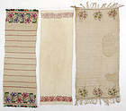 Lot of three Embroidered Textiles, Ottoman Empire.