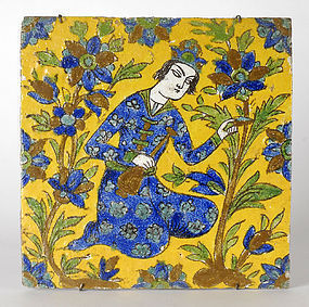 Persian Cuerda Seca Tile with Young Man, 18th / 19th C.