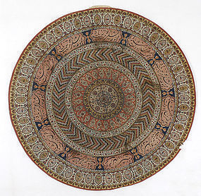 Persian Qalamkar Tray Cover with Arabic Inscriptions.