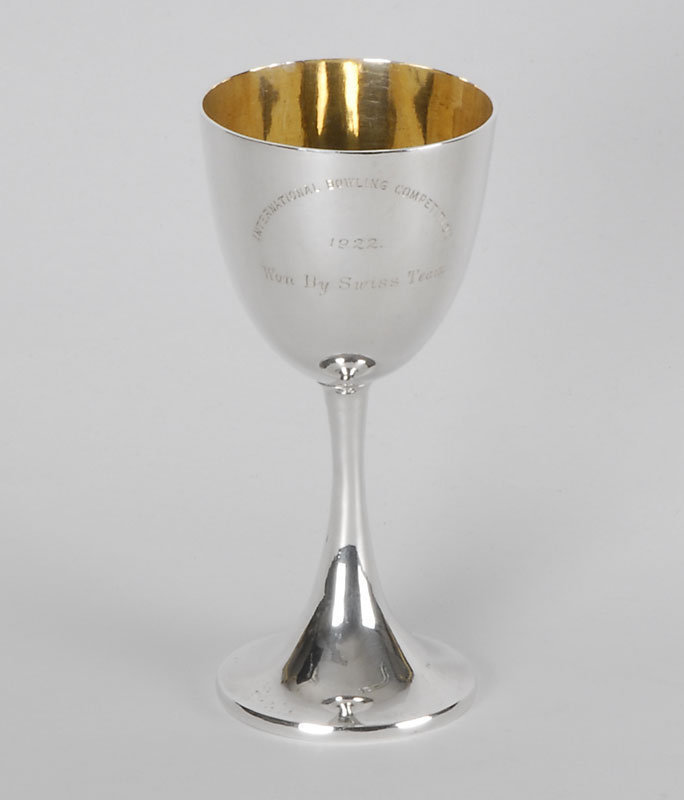 Chinese Export Silver Bowling Trophy by Wang Hing.