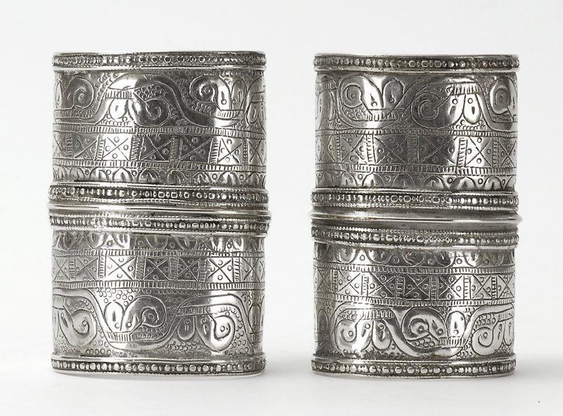 "Pair of Turkoman Ersari ""Bilezik"" Silver Cuff Bangles"