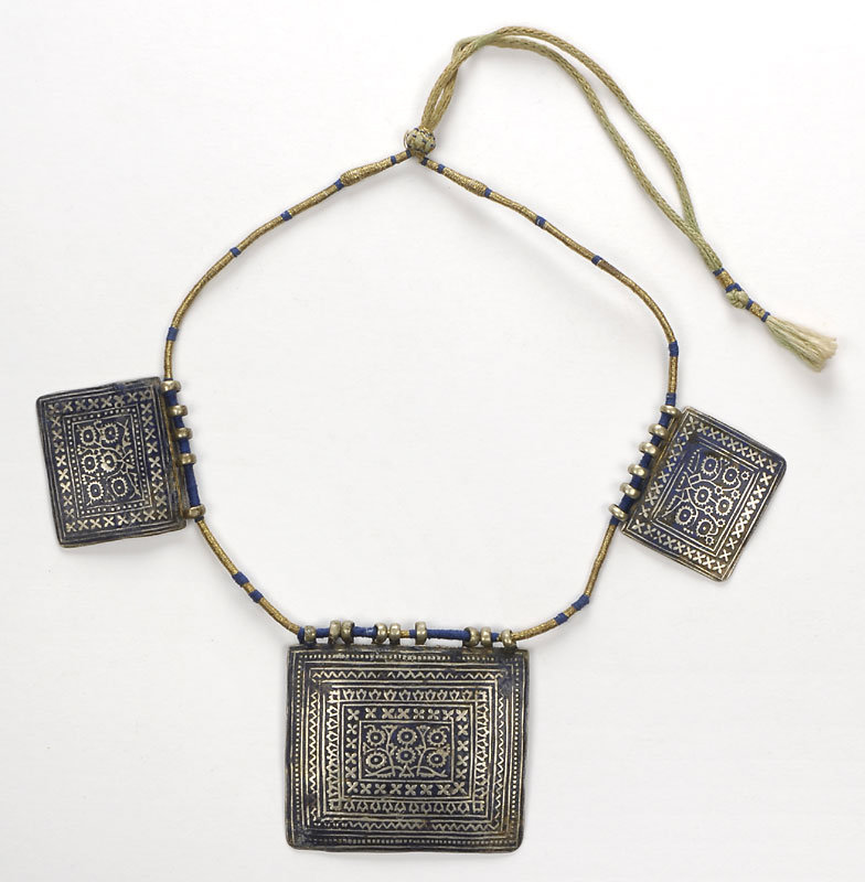 Multan Silver Enamel Champleve Amulet Necklace.