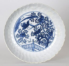 Chinese Blue & White Porcelain Saucer w. Garden Fence