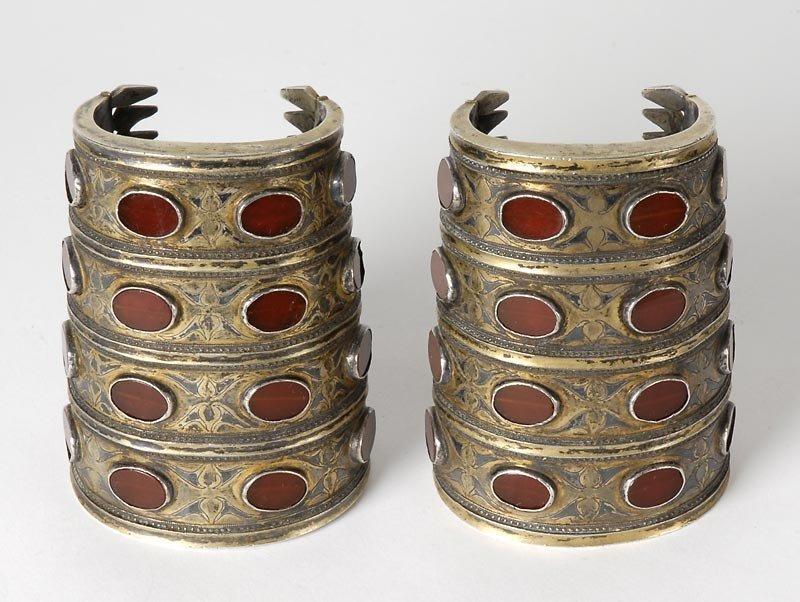 "Pair of Turkoman Tekke ""Bilezik"" Silver Cuff Bangles."