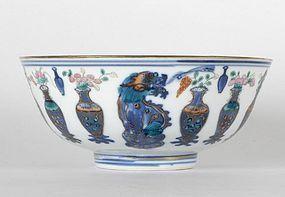 Chinese Doucai Porcelain Bowl with Guangxu Mark.