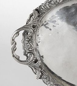 An Ottoman Silver Repousse Tray, Turkey, 19th C.