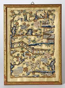 Framed Chinese Peking Knot Applique Embroidery.