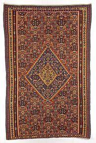 Antique Senneh Kilim Oriental Wool Rug, Persia.