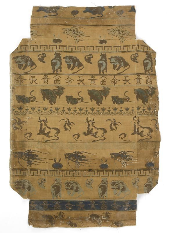 Japanese Edo Period Silk Brocade w. Zodiac Animals.