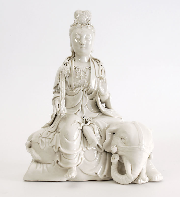 Old Blanc-de-Chine Figure of Guanyin on Elephant.