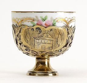 Ottoman Silver Zarf with Russian Porcelain Cup, 19th C.